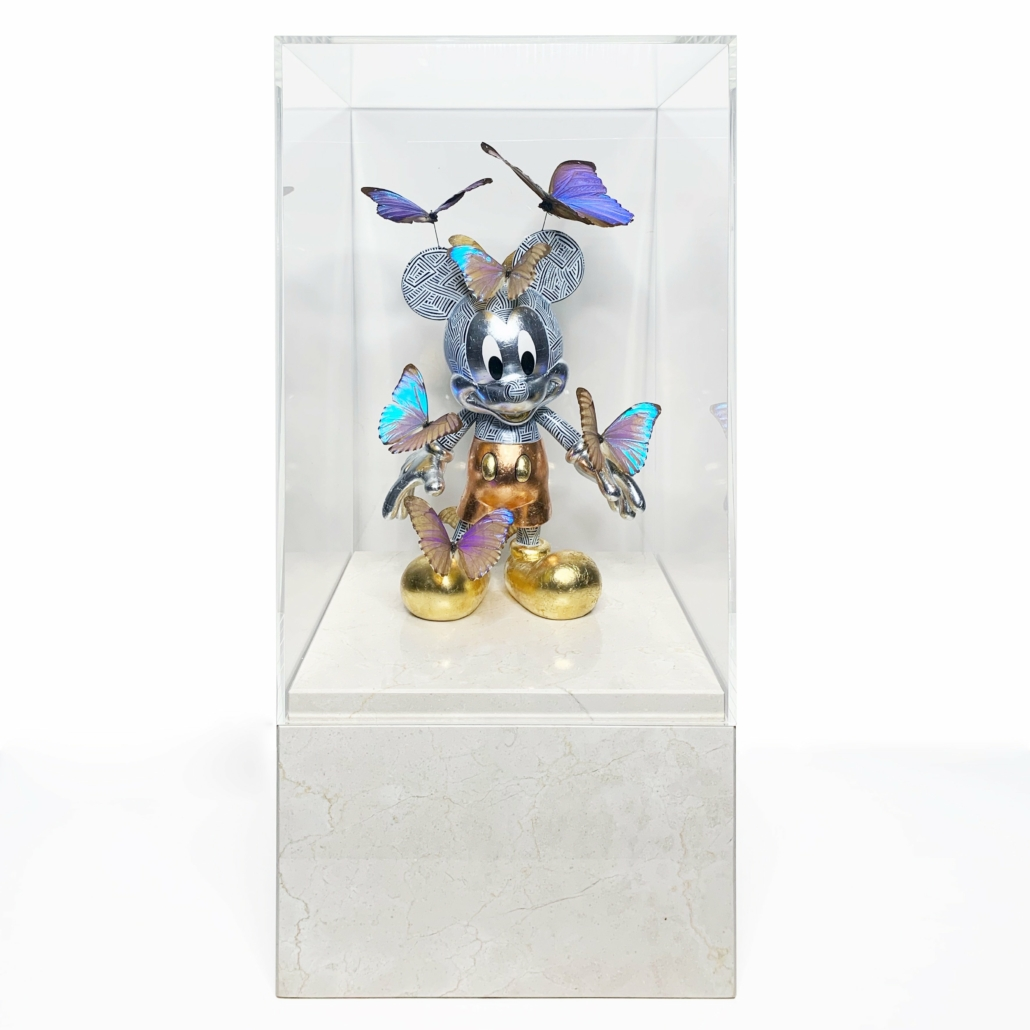 Art Toy Mickey | Marble base, acrylic glass, fibre glass, paint, gold/silver/copper | Unique | Alexandre De Poplavsky