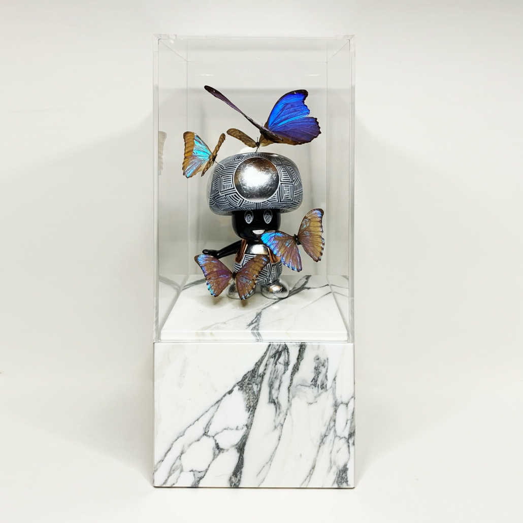 Art Toy Small Mario | Marble base, acrylic glass, fibre glass, paint, gold/silver/copper | Unique | Alexandre De Poplavsky