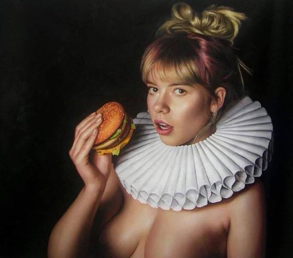 Burgertime | Oil on Flemish linnen | 120x100cm | Frank E Hollywood