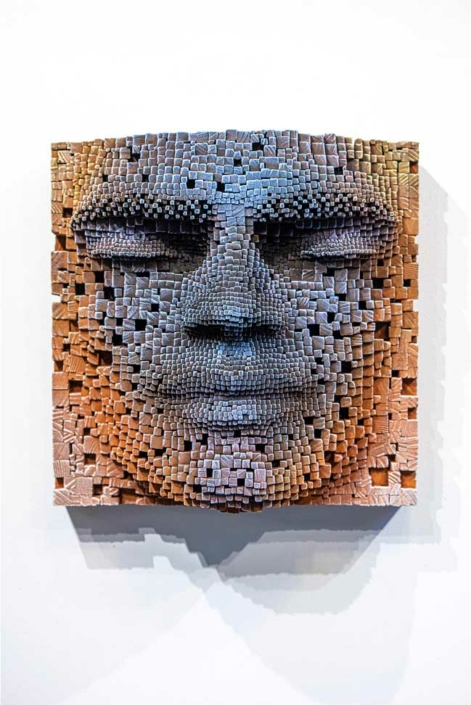 Mask #10   Pixelated wood wall sculpture   41x23x41cm   Gil Bruvel