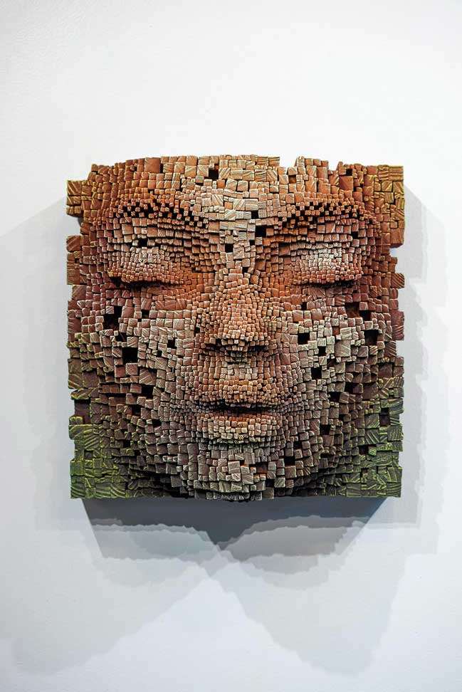 Mask #13   Pixelated wood wall sculpture   41x23x41cm   Gil Bruvel