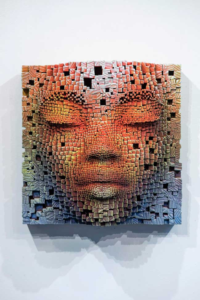 Mask #15   Pixelated wood wall sculpture   41x23x41cm   Gil Bruvel