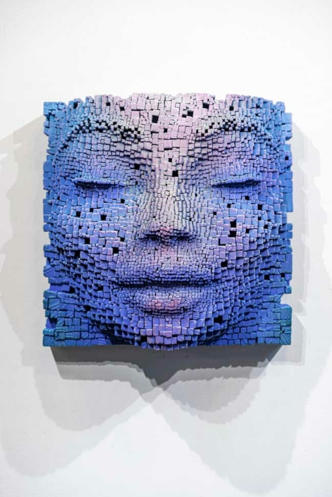 Mask #16   Pixelated wood wall sculpture   41x23x41cm   Gil Bruvel