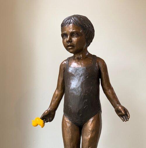 Alexandra and the Duckie | Bronze | 16x18x77cm | Edition of 17 | Marieke Prinsloo Rowe