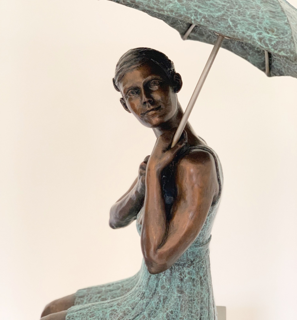 You Can Sit Under My Umbrella For The Rainy Day | Alexandra and the Duckie | Bronze | 60x18x17cm | Edition of 12 | Marieke Prinsloo Rowe