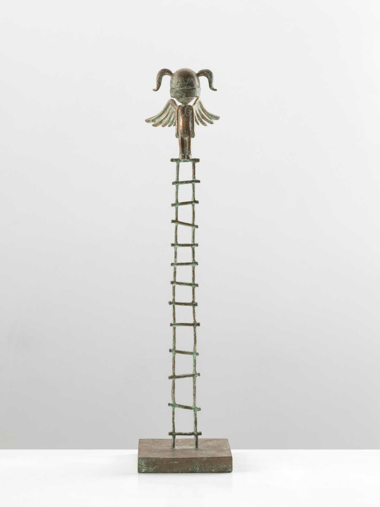 Large Angel Girl Warrior On Ladder | Bronze | 55 x 40 x 185cm | Samuel Allerton