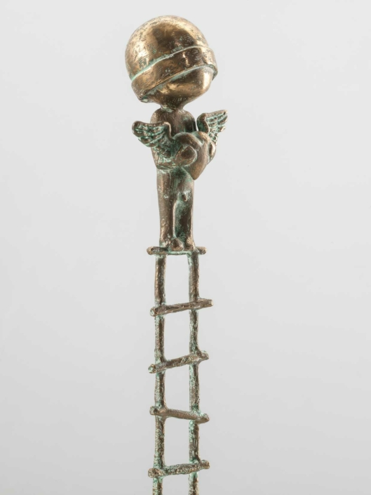 Boy With Heart On Ladder | Bronze | 14,5 x 14,5 x 62cm | Samuel Allerton