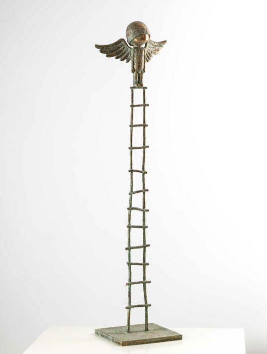 Large Angel Warrior On Ladder | Bronze | 55 x 40 x 185cm | Samuel Allerton